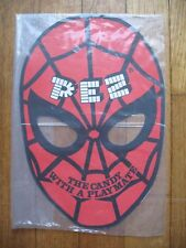"""PEZ Retired Spiderman Mask-Approx.10 3/4"""" Tall x 7 1/4"""" Wide-Elastic Head Band"""