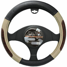 UAA® PVC Beige Steering Wheel Cover w/Burlwood Trim Universal-fit 2 in 1 auto
