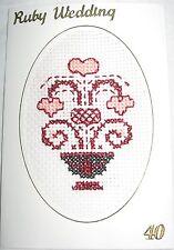 Wedding Anniversary Card Completed Cross Stitch Ruby Wedding 40th