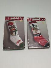 2 Vintage Bernat Christmas Stocking Knittied Kit Horse & Goose