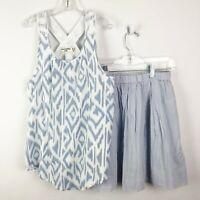 Abercrombie Kids Crewcuts Girls 12 14 Outfit Set Top Skirt Blue Sleeveless