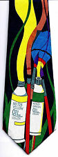 Oil Paint Tubes Mens Neck Tie Art Blue Necktie Teacher Artist Painter Gift New