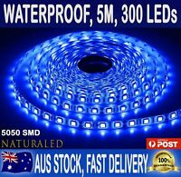 5m Flexible Bright LED Strip Lights 12V Waterproof 5050 SMD Blue 300 LEDs
