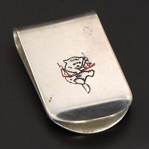 VTG Sterling Silver - R BLACKINTON CO Kitten on Swing Men's Money Clip - 21g