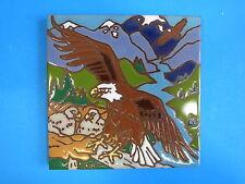 """Ceramic Art Tile 6""""x6"""" Eagle bird of prey eagle babies in nest trivet wall I51"""
