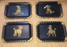 4 TOLE PAINTED POODLE TRAYS