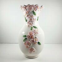 "BASSANO Italian Large White Ceramic Vase with Pink 3D Flower design - 10"" Tall"