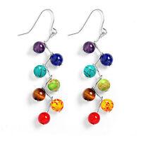 7 Chakra Healing Balance Beaded Earrings Natural Stone Yoga Reiki Prayer