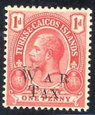 1917 Turks & Caicos Island War Stamp Opt. Var SC#MR10 A1O 1p Carmine MHOG