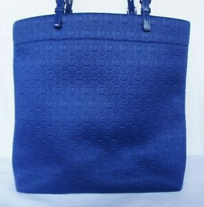 Michael Kors Navy Logo Stamped Neoprene Large Suede Lined Shoulder Tote