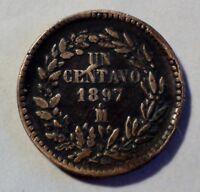 Mexico / Mexiko - 1 / Un Centavo 1897 - Kupfer - ss- vz erhalten / vf - xf
