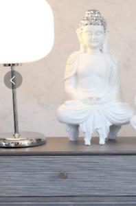 Thai Buddha Figure Stunning White Sitting Modern Art Deco Style 40.5cm
