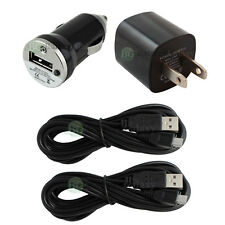 2 USB 10FT Micro Battery Data Cable+Car+Wall AC Charger for Android Cell Phone