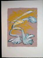 Zen Gladness Gestural 1990 Hand Pulled Serigraph silkscreen Print signed EJ Gold