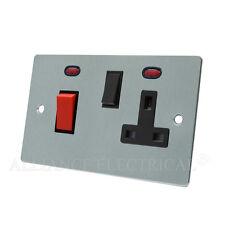 Brushed Matt Satin Chrome Flat Cooker Control Unit - 45A Cooker Switch Socket