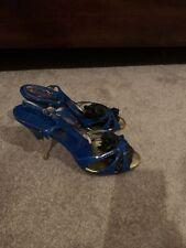 CHRISTIAN LOUBOUTIN Paris Blue Patent  Leather Heel Slingback Sandals Sz 40
