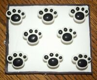 PAW PRINTS Animal Pet MAGNETS - Set of 8 Handmade Decorative Office Memo Board