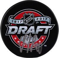 Elias Pettersson Vancouver Canucks Autographed 2017 NHL Draft Logo Hockey Puck