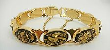 "Vintage Damascene Bracelet Birds 7.5"" B31"