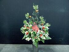 Winter/Christmas Cemetery Flower Headstone/Tombstone Vase Bush + Pine & Cardinal