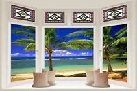 Huge 3D Bay Window Exotic Beach View Wall Stickers Mural Decal Wallpaper 325
