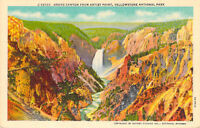 Grand Canyon from Artist Point Yellowstone National Park MT 28328 Linen Postcard