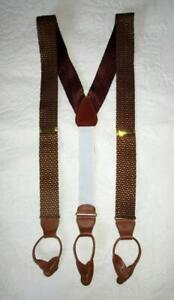 BURGUNDY and GOLD CLOTH BRACES with BROWN LEATHER FITTINGS