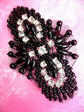"JB69 Black Beaded Rhinestone Applique Hot Fix Iron On  2.75"" Sewing Crafts Patch"