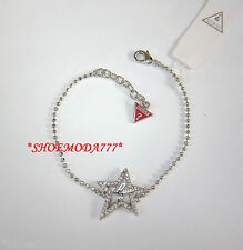 GUESS Exclusive Lasercut Star Bracelet Rhinestones G Logo Gift Bag Silver New