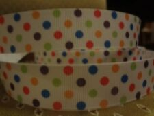 "5 yds 7/8""-1"" Grosgrain Ribbon colorful dots dotted craft supplies fast shipping"