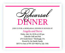 20 Personalized Custom Rehearsal Dinner Bridal Wedding Invitations Any Color