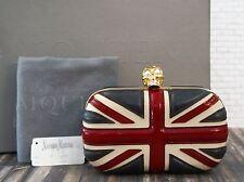 ALEXANDER McQUEEN Box Clutch Britannia Union Jack Leather Skull Bag NEW