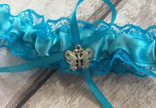❤️prom Wedding Garter Teal Lace Butterfly Charm Made In Uk