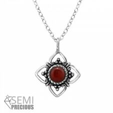 925 Sterling Silver Flower with Red Onyx Gemstone Pendant Necklace