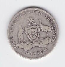 1917 M Sterling Silver Florin Coin Australia X-11