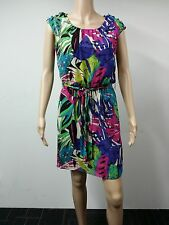 NEW - Signature - Size 8P Sleeveless Leaf Printed Dress Floral Multicolored $79