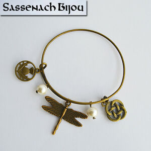 Celtic Bronze Bangle Bracelet Dragonfly & Pearls - Outlander Sassenach Jewelry