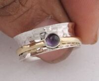 Amethyst Stone Solid 925 Sterling Silver Wide Band Spinner Ring Meditation Ring