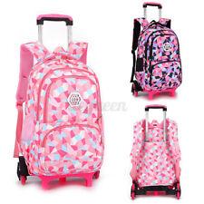 2/6 Wheels Removable Trolley Backpack Girl Boy Kids Wheeled School Bag Children