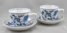 2 Blue Danube Japan Cups Saucers Blue Onion Pattern Ribbon Mark