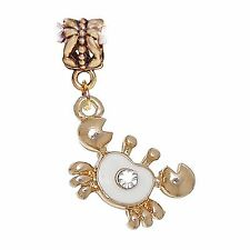 Crab White Enamel Gold Plated Beach Rhinestone Dangle Charm for Euro Bracelets