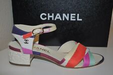 CHANEL Ankle Strap slingback Flower Block Low Heel Sandals Shoe 8 Silk Fabric 38
