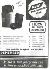 "VINTAGE: ""HOYA 28 - 85 F4 ZOOM LENS"" LEAFLET WITH NATIONWIDE SUPPLIERS 1980"