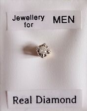 Brand New Mens SINGLE 9ct Gold & 3mm 0.025ct diamond round stud earring - boxed