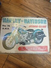 new large turquoise Harley Davidson metal plaque 40cm x 30cm