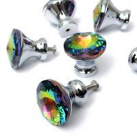 10Pcs Colour Glass Handle Cabinet Crystal Pull Knob Diamond Door Drawer Wardrobe