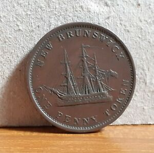 1843 QV New Brunswick now Canada Copper 1d Penny Token Coin - ERROR Back Rare ?