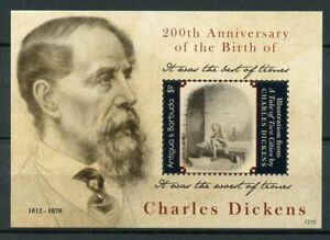 Antigua & Barbuda Writers Stamps 2012 MNH Charles Dickens Famous People 1v S/S