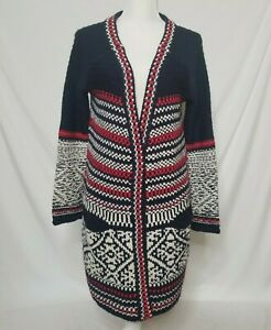 Free People Womens L Chunky Knit Cardigan Sweater Long Red White Blue
