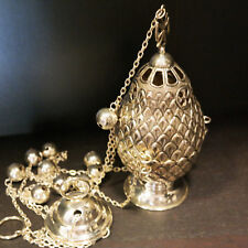 Sterling Silver 925 Orthodox Censer Traditional Byzantine Style H20cm